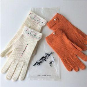 2 Pair Little Girls 4-7 Vintage Nylon Gloves Italy